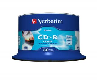 VERBATIM CD-R 52x GLOSSY PRINTABLE SPINDLE 50